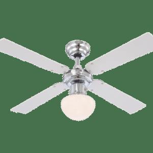 Champion loftventilator med lys Ø105 cm - Krom/Hvid