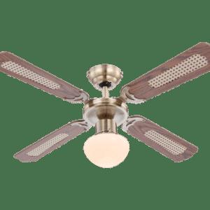 Champion loftventilator med lys Ø106,6 cm - Brun/Antik messing