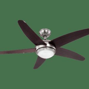 Fabiola loftventilator med fjernbetjening og lys Ø132 cm - Brun/Mat nikkel