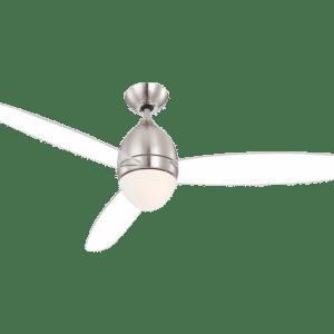 Premier loftventilator med fjernbetjening og lys Ø132 cm - Mat nikkel/Transparant