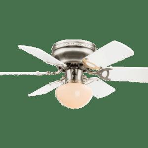 Ugo loftventilator med lys Ø76 cm - Hvid/Mat nikkel
